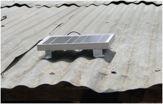Installed solar panel on a corrugated sheet roof